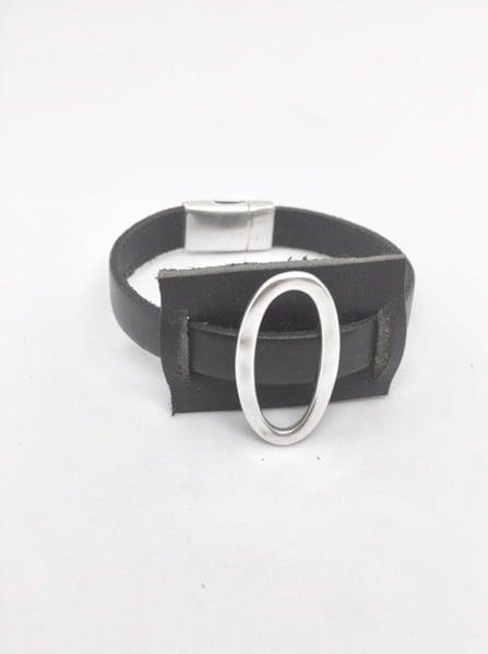Birdy Noir Rectangle cuir et pièce ovale fermoir magnétique Lanière 10 mm